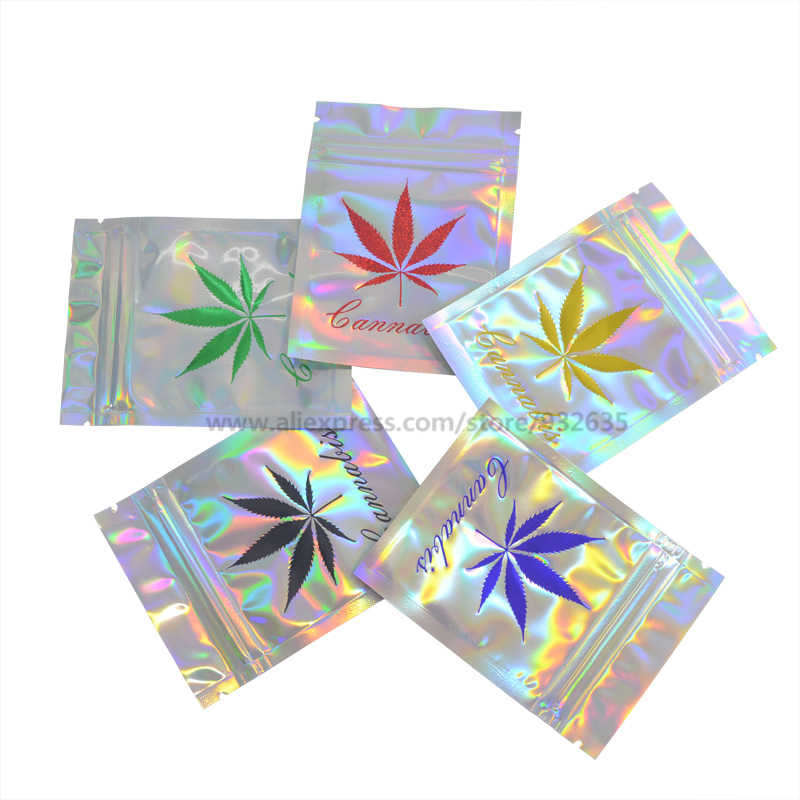 7.5x10cm (1-3g) Holographic Bags Hot Stamping Colors Leaf Zip lock  Food Storage Pouch Gilding Bronzing Pouch One Color 100 PCS