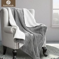 Naturelife Thick Soft Warm Blanket Coral Sherpa Blankets Travel Sofa Solid Color Fleece Blankets For Bed Soft Fluffy Cobertor