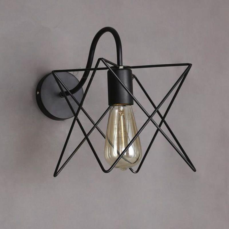 Hot Sale Vintage Iron Cage Wall Lamp Retro Loft Corridor Stairs Lamp Light Bathroom Bath ...