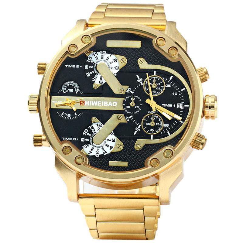 Brand Shiweibao Mens Quartz Watches Men Golden Steel Watchband Dual Time Zones Military Wristwatches Sport Relogio