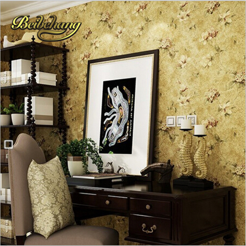 beibehang American retro flower non-woven living room bedroom TV background wallpaper papel de parede floral  0.53 m * 10 m (cm)