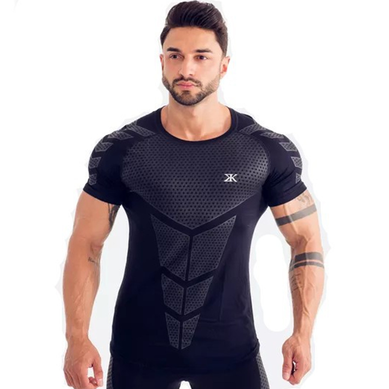 Image 4 - Compression Quick dry T shirt Men Running Sport Skinny Short Tee Shirt Male Gym Fitness Bodybuilding Workout Black Tops ClothingT-Shirts   -