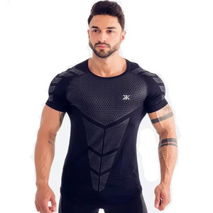 Image 4 - Compression Quick dry T shirt Men Running Sport Skinny Short Tee Shirt Male Gym Fitness Bodybuilding Workout Black Tops Clothing