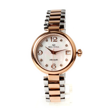 Seagull Gold Tone Rhinestones Bezel Mother of Pearl Dial Two Tone Bracelet Women Automatic Mechanical Fashion Watch 517.756L