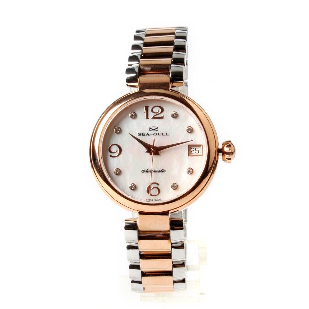Seagull Gold Tone Rhinestones Bezel Mother of Pearl Dial สร้อยข้อมือสตรีแฟชั่นนาฬิกา 517.756L-ใน นาฬิกาข้อมือสตรี จาก นาฬิกาข้อมือ บน   1