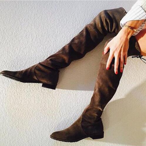 Enfiler À Frange 2018 Pictures Bottes Green Mujer army rouge Le noir Plaine Haute Plates Cuisse gris Zapatos Botines Botas Designer Nude Chaussures as Dipsloot Genou Femmes Sur fvPzAnAx
