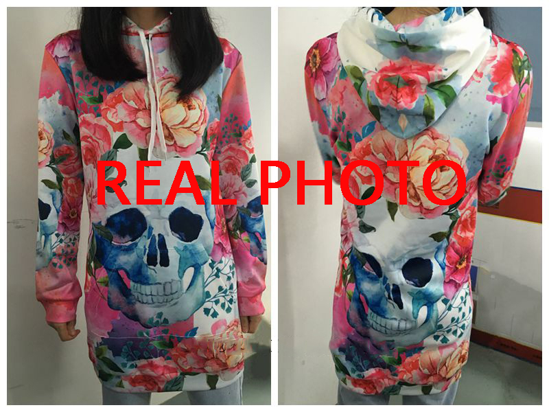 Women Long Sleeve Skull Hoodies Dress Flowers Bodycon Sweatshirts Pullover Streetwear Hoodie Autumn Casual Clothes Mini Dresses 3