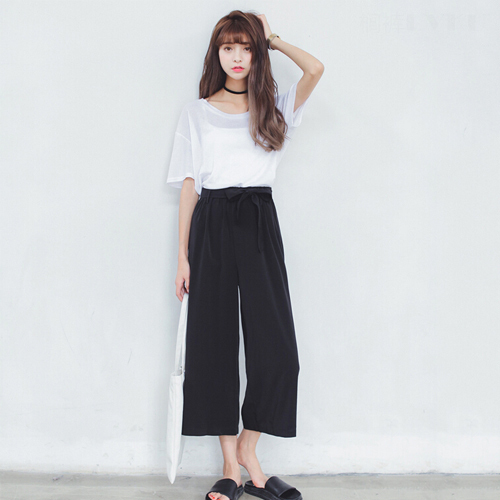Crop Wide Leg Pants Femme High Waisted Wide Leg Black