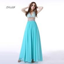 ZYLLGF Sexy See Through Elegant Evening Gown V Neck Sequins Beaded Evening Party Dress Long Chiffon Women Formal Wear ZL72