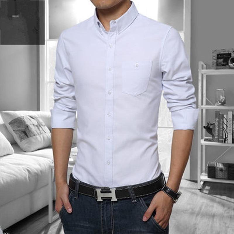 Повседневные Мужские Рубашки Slim Fit М-5XL 100% Хлопок 2017 Мужские Рубашки Мужские Одежды Социальной Рубашки Мужчин Бренд Сорочки Homme марка