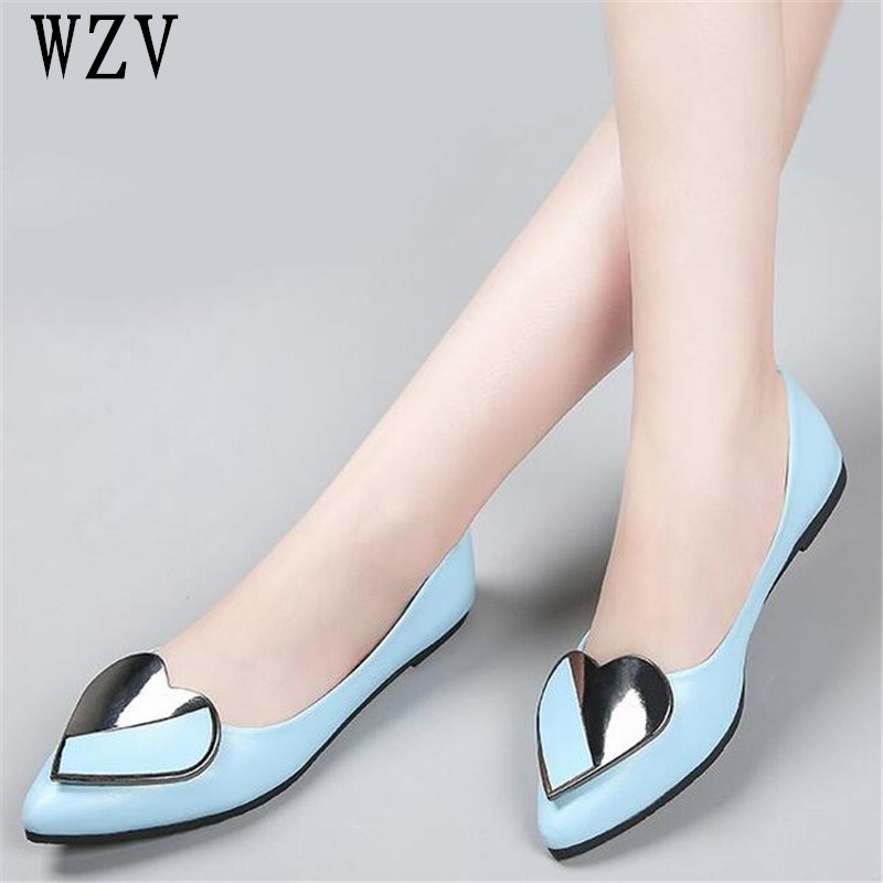 2018 New Fashion Heart decoration Spring Women Flats Shoes Ladies Bow pointed Toe Slip-On Flat Women's Shoes B245 ladies shoes fashion rhinestone bow women flats spring slip on loafers women pointed toe flat shoes waman black brown flats