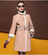 New Genuine Double-faced Fur Overcoat Real Lamb Fur Coats Women Long Winter Warm Outerwear Thick Parka LX00556