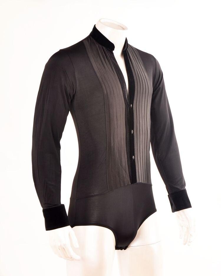 latīņu dejas samta apkakle satīna priekšējais krekls kardigana sašūšanas pogas vīriešiem latīņu dejas bodija krekls MS15001