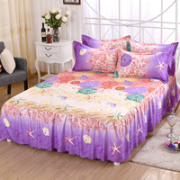 Cilected Flowers 3pcs/set Home Textile Bedding Fitted Bed Sheet Pillowcase Elastic Bedspread Summer Mattress Cover Bedclothes