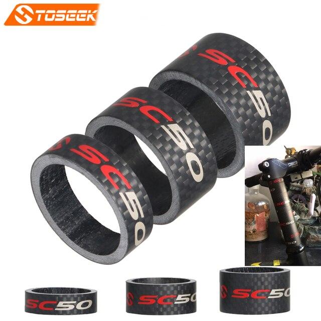 """Toseek Cheio de Carbono Estrada/MTB Bicicleta Garfo Headset Espaçador Bicicleta Stem Lavadora Spacer 1 1/8 """"10/15 /20mm 3 k Matte peças da bicicleta"""