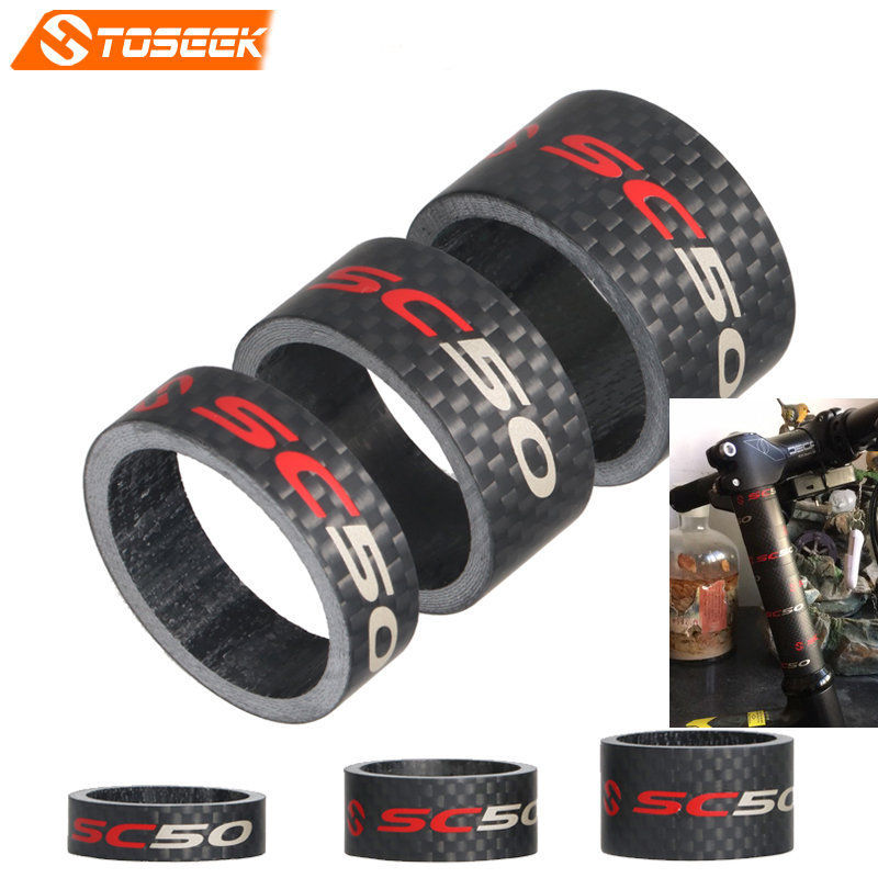"Toseek Full Carbon Road/MTB Bike Fork Headset Spacer Bicycle Stem Washer Spacer 1 1/8"" 10/15/20mm 3K Matte bike parts"