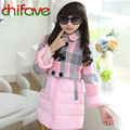 2017 New Winter Kids Girls Sets Warm Double Breasted Long Sleeve Coat+Zipper Vest Suit Sets Children Girls Clothes Free Shipping