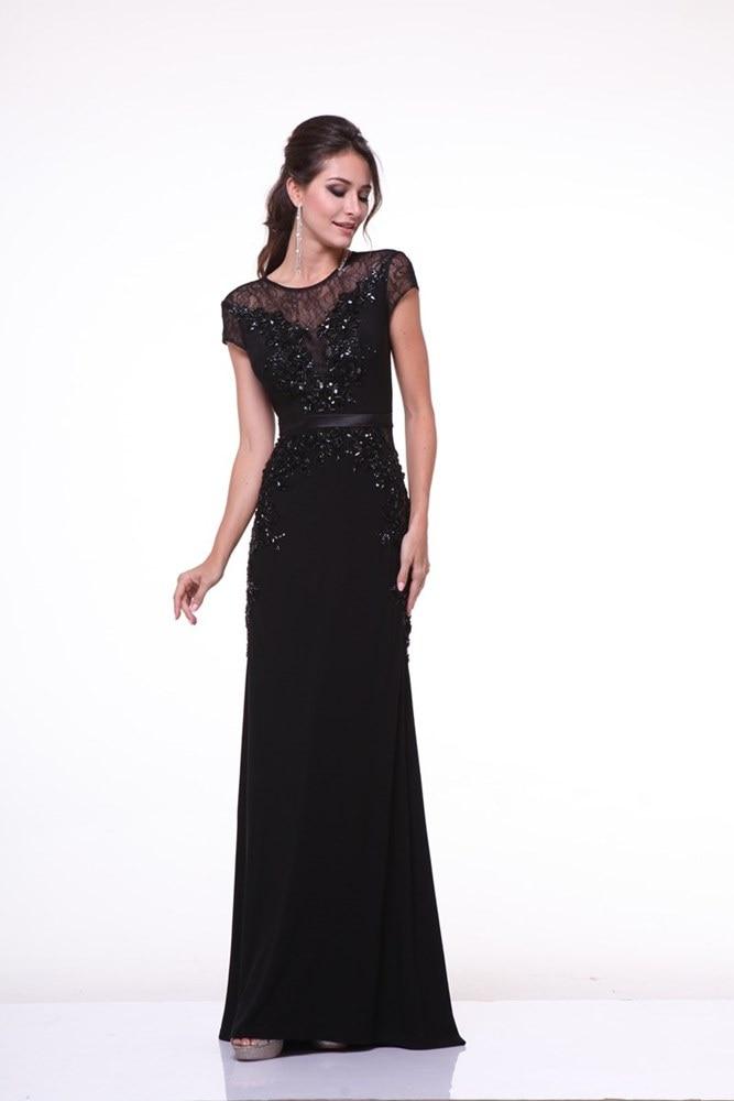 O-cuello apliques rebordear pesado negro vaina prom dress manga corta longitud d