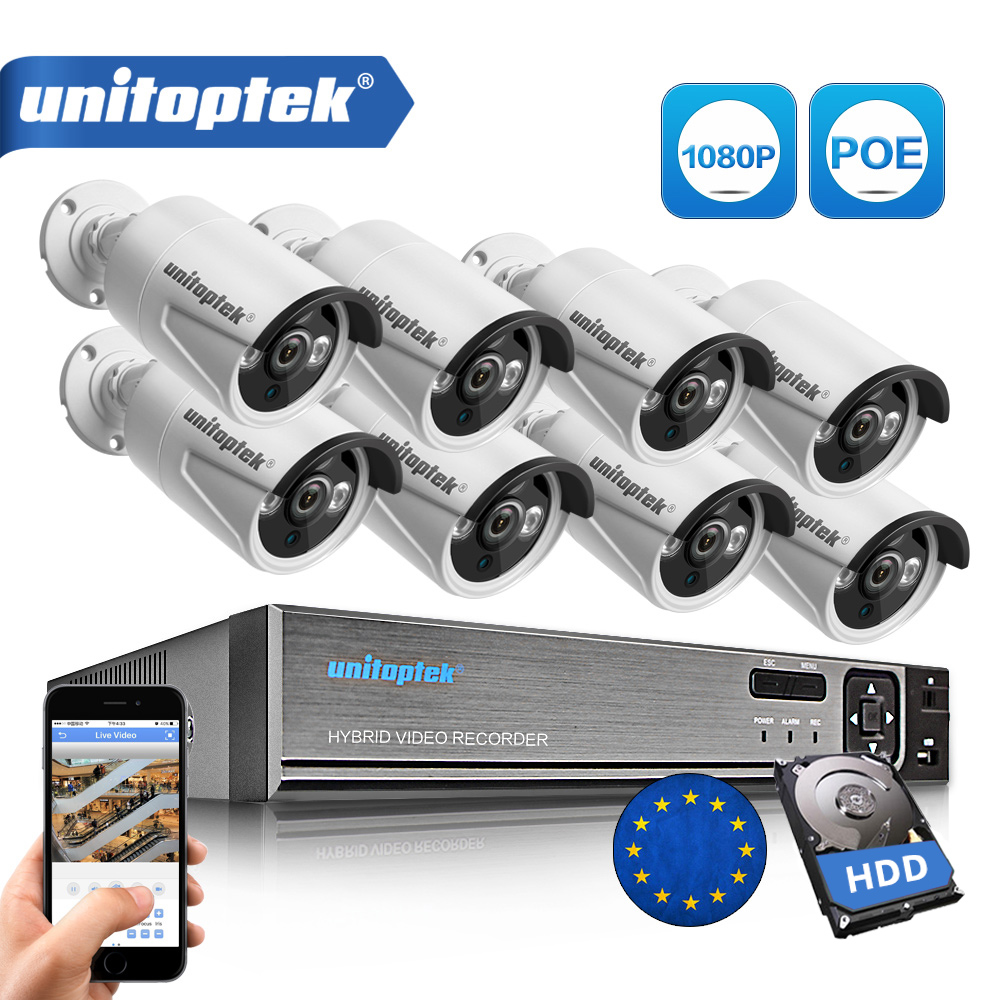 8CH True 48V POE NVR Kit CCTV System With 8Pcs 2.0MP POE IP Camera Outdoor IR Night Vision Surveillance Camera System Metal Case