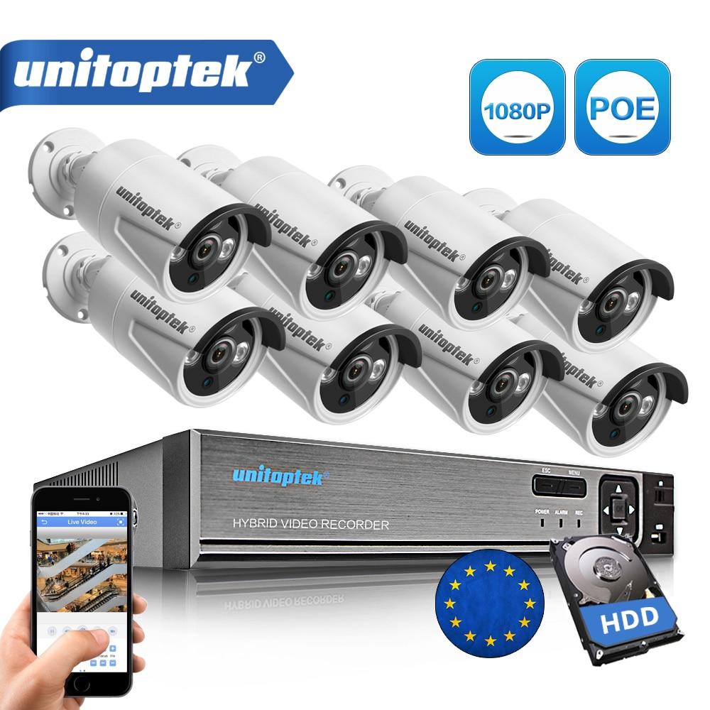 8CH Verdadeiro 48 V Kit POE NVR Sistema de CCTV Com 8 Pcs 2.0MP POE IP Câmera Ao Ar Livre IR Night Vision sistema de Câmera de vigilância Caixa De Metal
