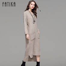 9d3392fe2fc FATIKA Women Knitwear 2017 Autumn Winter Knitted Dress Front Short Back  Long O-Neck Casual