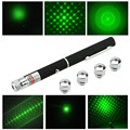2015 Wholesale Price 5mW 6in1 Green Ray Beam Laser Pointer Pen Puntero Laser Verde With 5 Different Laser Patterns + 5 Star Caps
