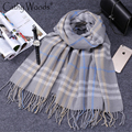 Winter Cashmere Scarf Brand Design Women Real Rabbit Fur Cashmere Scarves Ladies Plaid Checked Scarf Women Shawls and Scarves