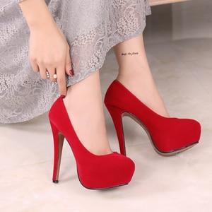 Image 4 - MAIERNISI Super High Heels Schuhe Flock Plattform Schuhe Mit Hohen Absätzen Pumpen Frauen Nachtclub Dünne Ferse Sexy Plus Große Größe 14cm High Heels