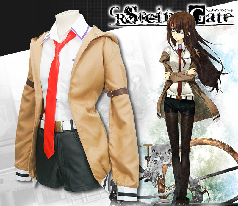 Hot Sale Hot Game Steins Gate Cosplay Costume Makise Kurisu Shirt Pants and Coat Suit Cosplay Costume Send Socks
