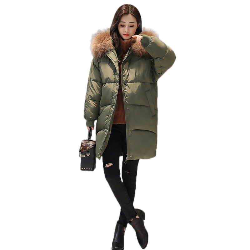 2017 Winter Down Cotton Coat Brand Hooded Parkas Faux Fur Collar Female Parkas Solid Thick Warm Long Outwear Cotton jacket Coat 2015 women winter warm long down parkas female slim down cotton jacket hooded faux fur collar ladies elegant thick coat h5310