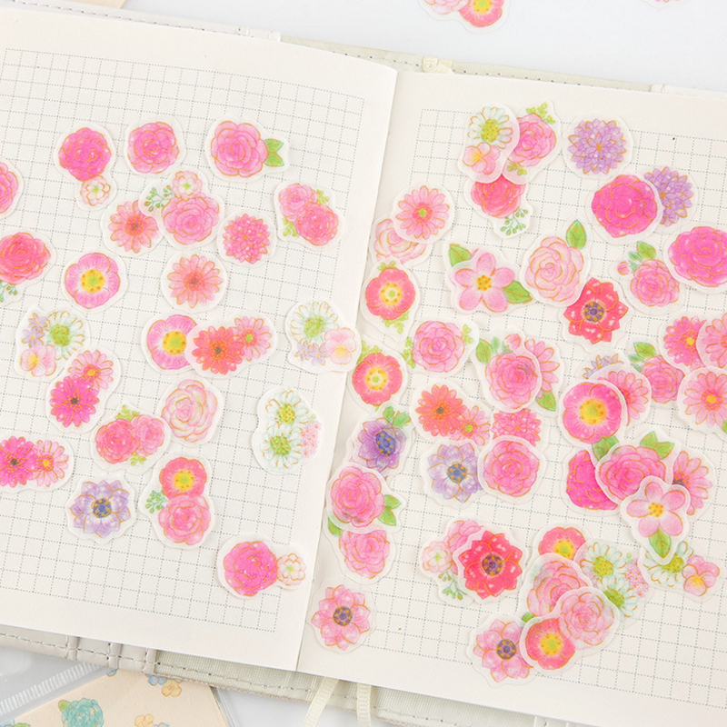 20packs lot New Beautiful Romantic Flowers Gilding Paper Sticker Diary Scrapbooking Decoration Diy Ablum Label Stickers in Stationery Stickers from Office School Supplies