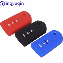 jingyuqin 3 Buttons Remote Silicone Car Key Cover Case For Mazda 2 3 5 6 8 Atenza CX5 CX-7 CX-9 MX-5 RX Keyrings Fold Flid Key