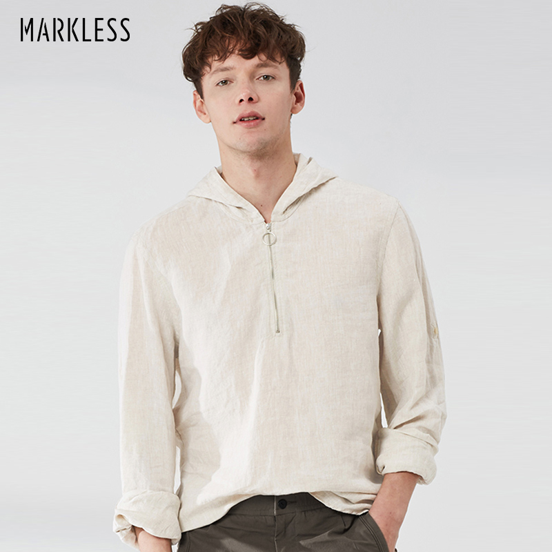 MARKLESS Mens Casual Long Sleeve Linen Shirts Solid Comfort Fashion Hoodies With 1/4 Zipper WTA9155M
