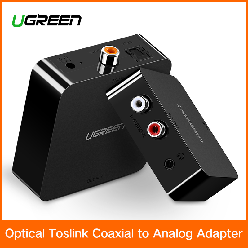 Ugreen Digital zu Analog Audio Adapter Optische Toslink Koaxial zu Analog R/L RCA Konverter mit 3,5mm Jack mit EU Stecker Adapter