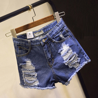 European American Summer Female Low Waist Denim Shorts Women Worn Burr Hole Jeans Shorts Plus Size