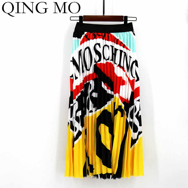 QING MO Letter Print Long Skirt Women Irregular Stitching Color Skirt Lady High Waist Elastic A-Line Skirt ZQY832