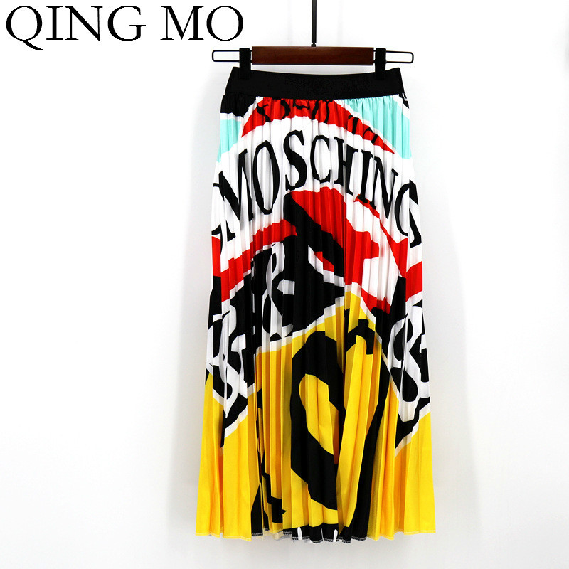 2020 Summer Newest Letter Print Long Skirt Women Irregular Stitching Color Skirt Lady High Waist Elastic A-Line Skirt ZQY832 8