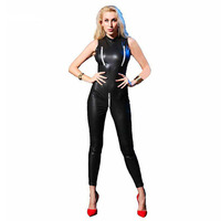 Sexy Stretchy Open Crotch and Bust Catsuit Patent Leather Crotchless Catsuit Clubwear Bodysuits Jumpsuit