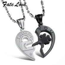 Fate Love New Fashion Jewelry 316L Stainless Steel Necklace Men Silver Black Split Joint Heart Pendant Couple Necklaces GX845