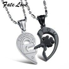 Destino Amor Nueva Joyería de Moda Collar de Acero Inoxidable 316L Plata Negro Común Partido Del Corazón Collares Pendientes de los Pares 845