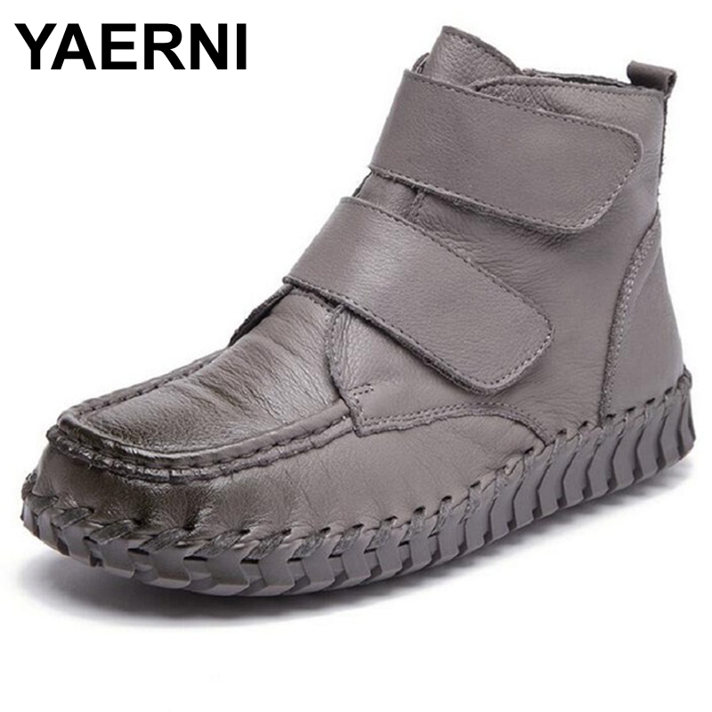 YAERNI Genuine Leather Women Ankle Boots Vintage Soft Outsole Shoes Handmade Full Grain Leather Boots For Women Flat Shoes