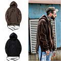 New men's drawstring ribbon Oversized Hoodie Streetwear Pullovers Drake Kanye West Plain brown / Black Fleece Tracksuit Hip Hop