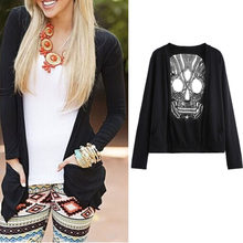 Sexy Backless Long Sleeve Hollow Oversized Skull Pattern Crochet Lace Long Cardigans Jacket Women Spring Cardigan Blouse(China)