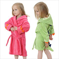 Children's Bathrobes Baby Boys Dinosaur Modelling BathRobes Girls Hooded Robe Flannel Pajamas Bathrobes Kids Soft Bath Towel