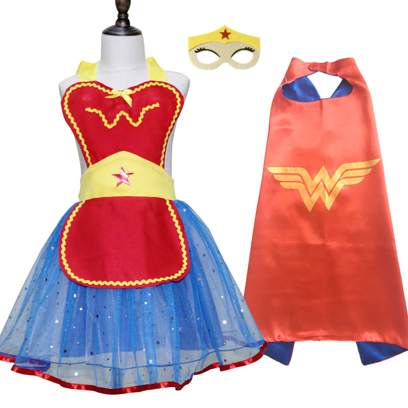 Wonder Woman Costume Cosplay Apron Cape Mask Tiara Wand Halloween Costume for Girls Kids Christmas Birthday Party Favor