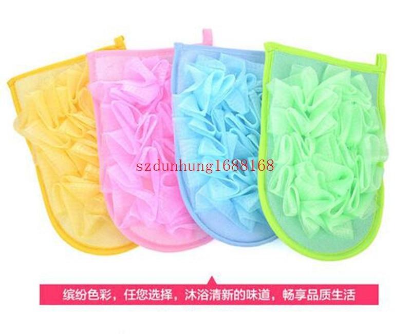 500pcs/lot With Bath Flower Gloves / Bath Glove / Bubble Bath Flowers Small Rub Cloth Sponge Towel Personal Care Bath Sponge