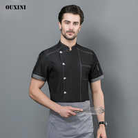 Été Chef uniformes Service alimentaire Restaurant cuisine vêtements de travail femmes hommes à manches courtes restauration vestes outillage uniforme