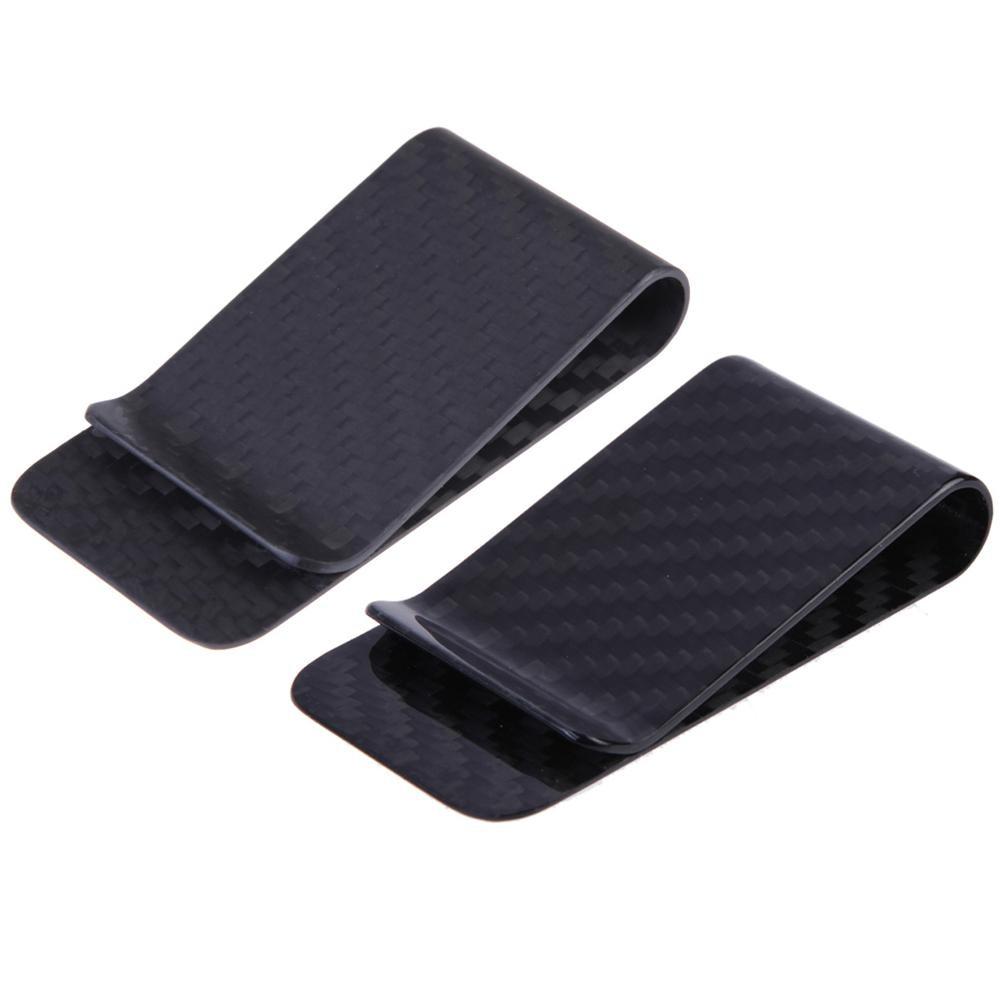 Genuine Carbon Fiber Black Gloss Money Clip RFID Blocking Cash Holder Card Holder