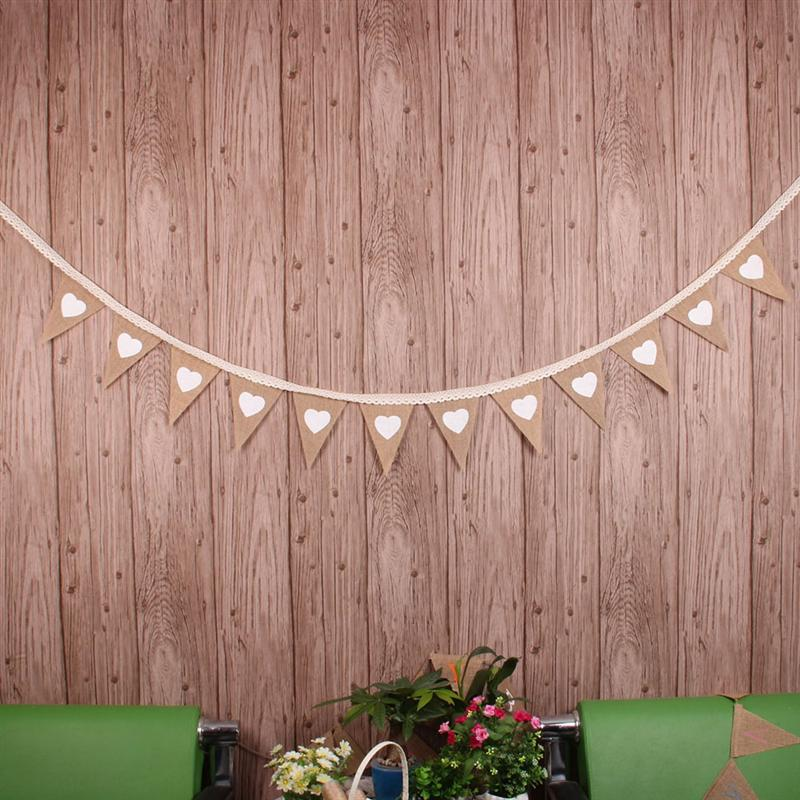 3 M Banners 12 Flags Love Heart Rustic Hessian Jute Linen Bunting Flags Burlap Lace Pennant Party Garland Wedding Decoration