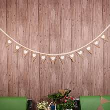 3 M Banners 12 Flags Love Heart Rustic Hessian Jute Linen Bunting Flags Burlap Lace Pennant Party Garland Wedding Decoration(China)